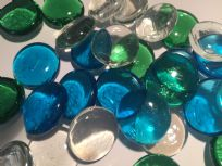 Blue, Green & Clear Glass Decorative Pebble Beads